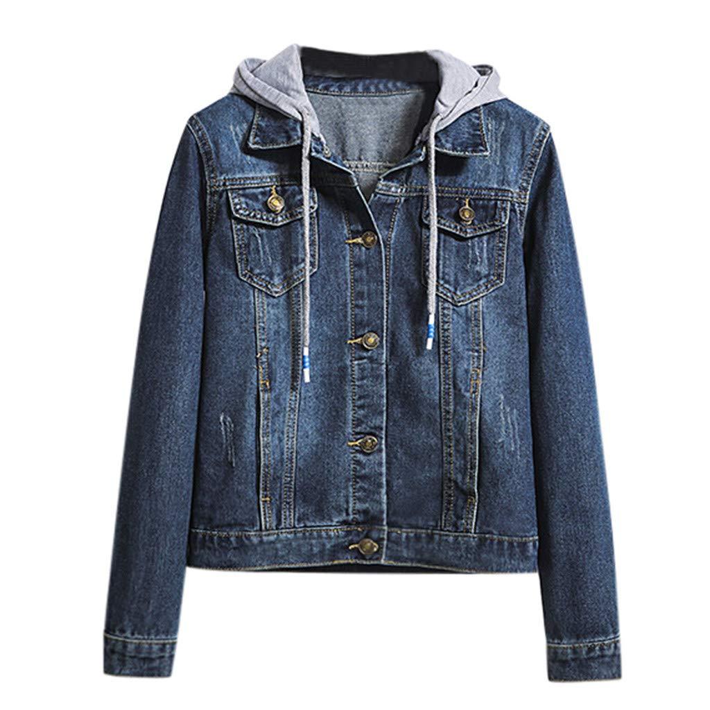 Fanteecy Women's Layered Drawstring Hood Denim Jacket Boyfriend Oversize Denim Jacket Long Sleeve Coat w Pockets by Fanteecy