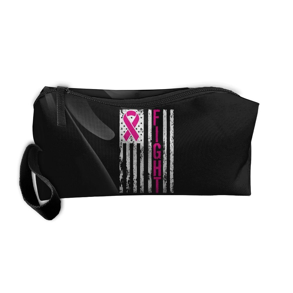 Breast Cancer Awareness Ribbons Big American Flag Portable Zipper Storage Bag Portable Travel Storage Bags Kits Medicine And Makeup Bags