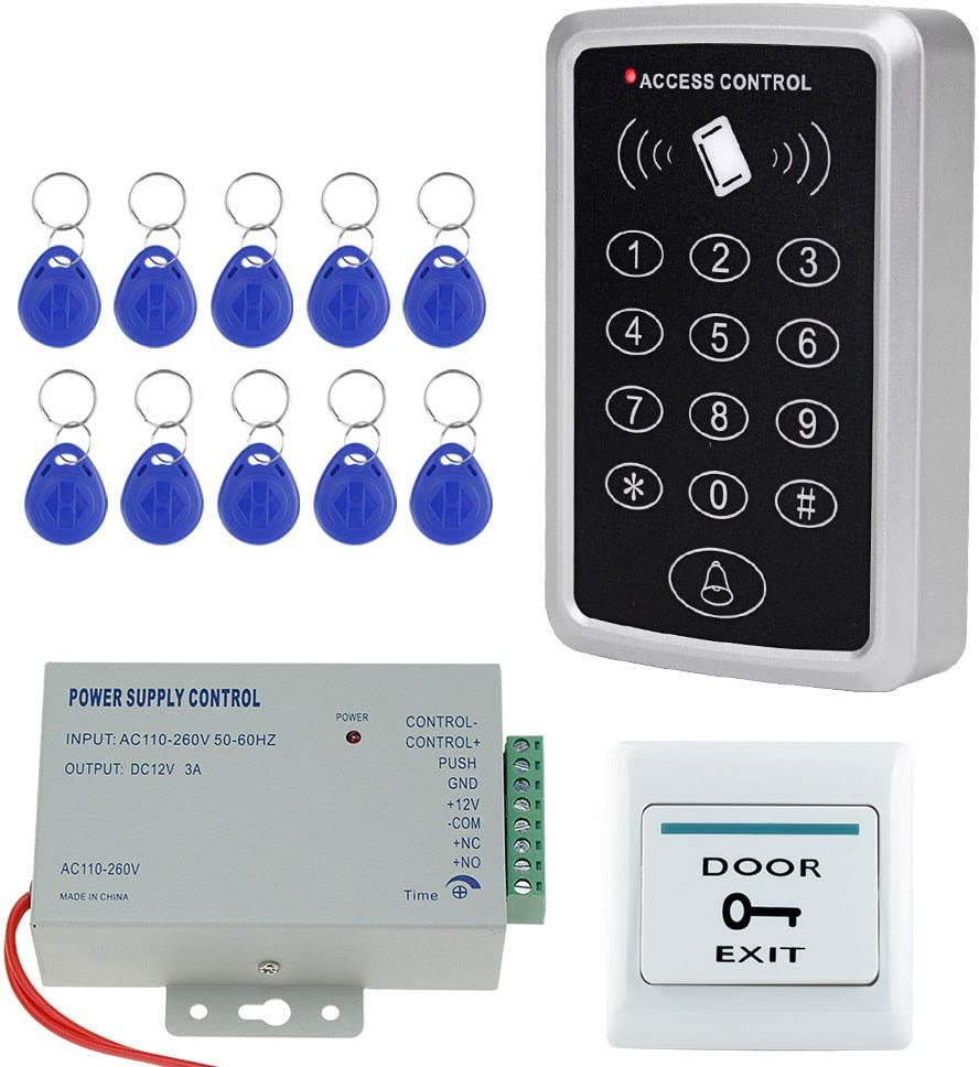 10pcs 125KHz Keyfobs No Electric Locks NN99 Lecteur de Cartes Clavier RFID avec syst/ème dalimentation Bouton de Sortie de Porte