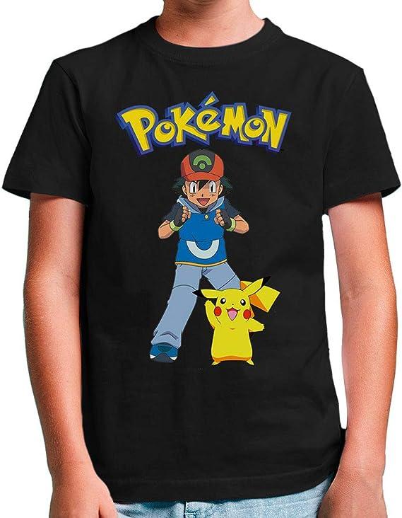 Mx Games Camiseta Ash y Pikachu Pokemon,Manga Corta Negra (Talla: 5-6 años): Amazon.es: Juguetes y juegos