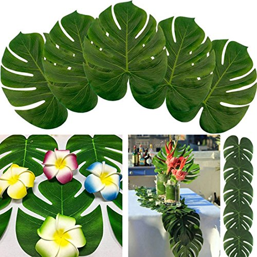 12PCS Large Artificial Tropical Hawaiian Palm Leaves Luau Party for Table Decoration (Small:6.6*7.8inch/17*20cmcm, Green)