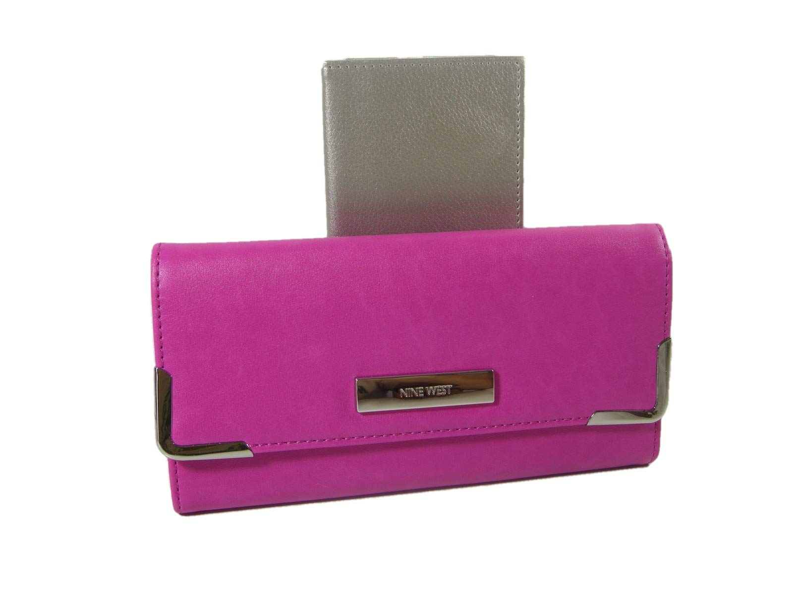 New Nine West Checkbook Cover & Wallet Duplicate Flap 2 Piece Set Passion Pink by Nine West