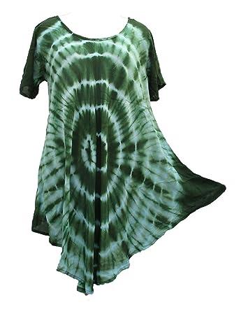 Tie Dye Hippie Tunic Top Dress Boho Beach Kaftan Size 18 20 22 24 26 28 30