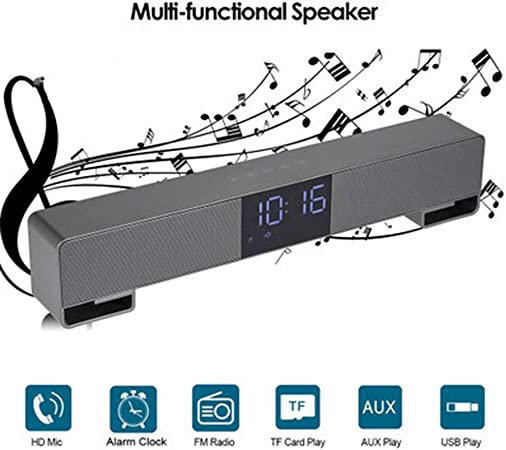 WHCCL Barra de Sonido, TV Altavoz Bluetooth Altavoces duales portátiles con Reloj Despertador Pantalla LED FM,para TV, PC, teléfono Celular, tabletas Proyector,Gray: Amazon.es: Hogar