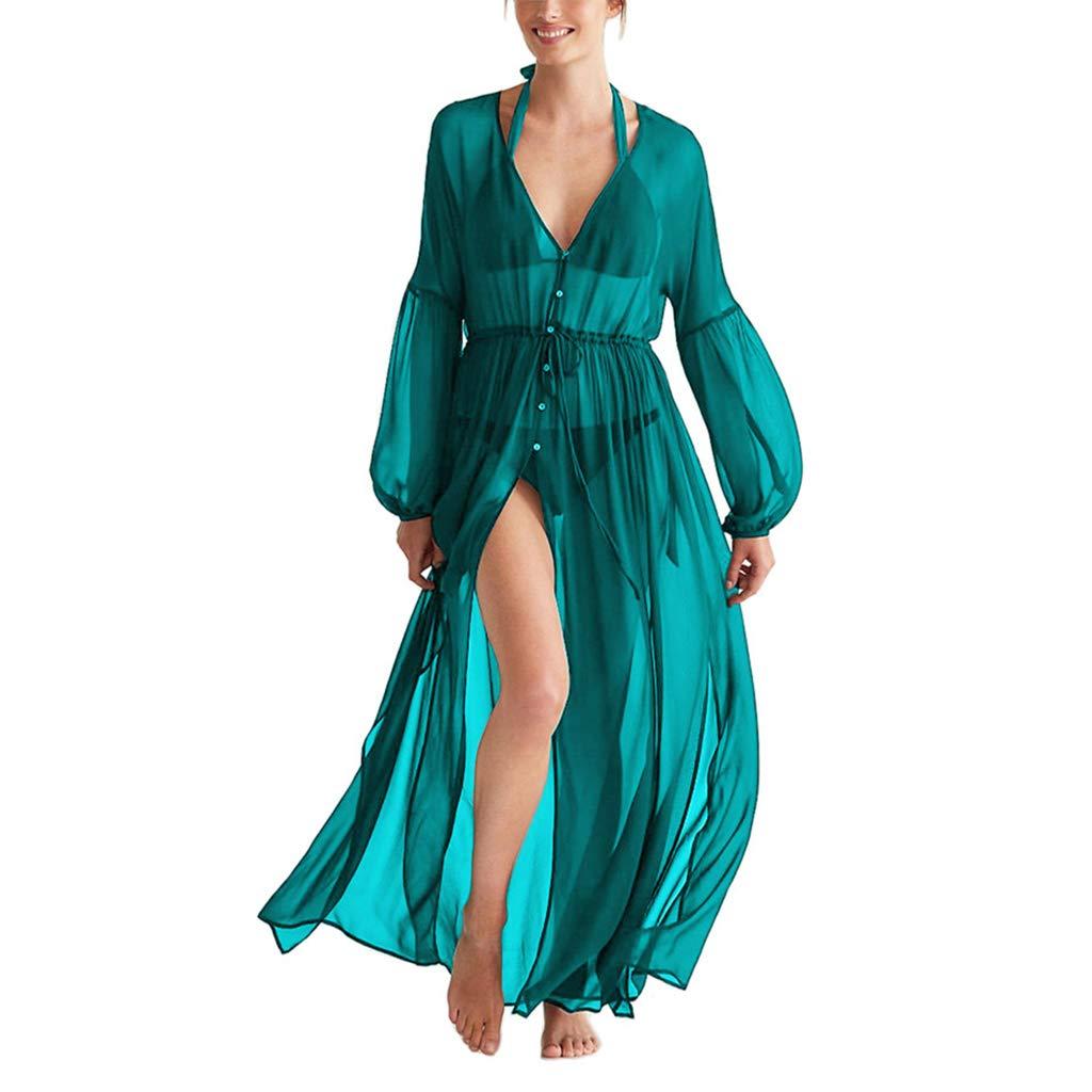 Ourlove Fashion Women's Chiffon Long Kimono Cardigan Maxi Bikini Swimsuit Cover Up Swimwear (Peacok Blue)