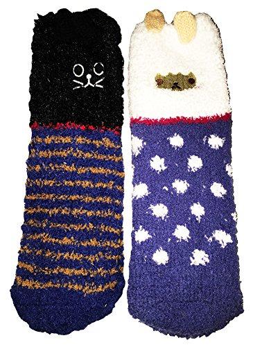 Women's Soft Warm Microfiber Fuzzy Socks 3-6 Pairs (One size, Cat/Sheep)