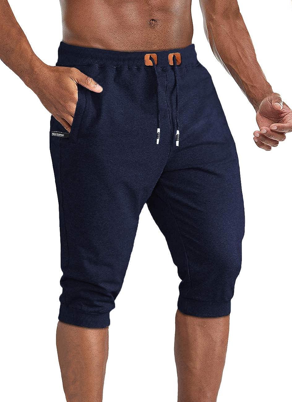 TACVASEN Pantaloncini in Cotone 3//4 Joggers Estivi Outdoor Pantaloni Corti Elastici Vita Capri Pantaloncini con Zip Tasche