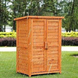 Tuuertge Outdoor Storage Cabinets Outdoor Tool Cabinet Wooden Waterproof Locker Balcony Toolbox Garden Storage Box Patio Outdoor Storage Container (Color : Orange, Size : L)