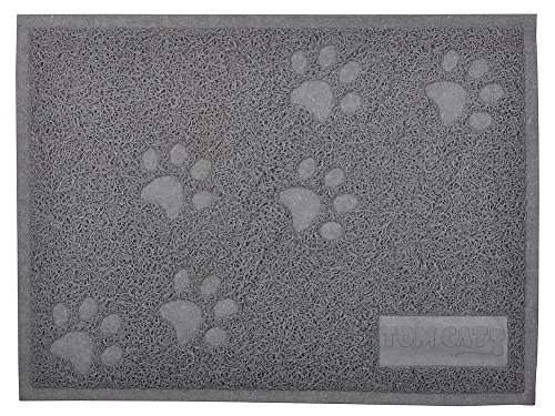 Cat Litter Box Debris Catcher Mat,Kitty Scatter Control Rug,16x12 Inches,2 Colors Available (Gray)