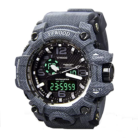 Reloj deportivo para niños con reloj de pulsera militar, analógico, digital, casual,