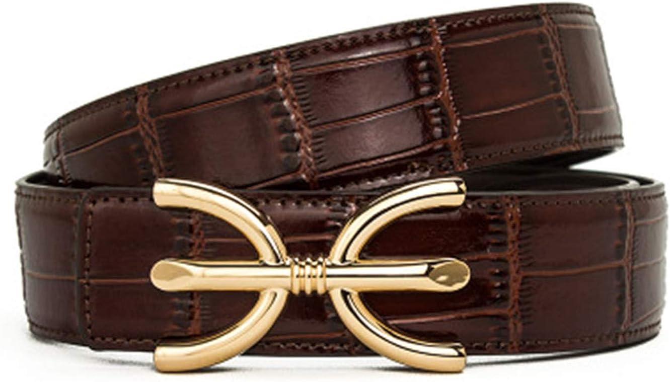 Mens brand crocodile bamboo pattern high-grade leather decorative belt belt