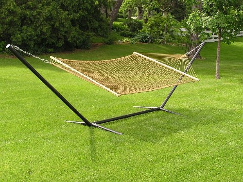 Two Person Extra Large Cotton Brown Rope Hammock + Iron Stand