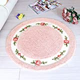 Ukeler Floral Rose Non Slip Round Area Rugs for Bedroom, Living Room, Girls Rooms, Kids Room, Chairs, Washable Non-slip Bathroom Mat for Home and Hotel,(35.4-inch diameter, Pink)