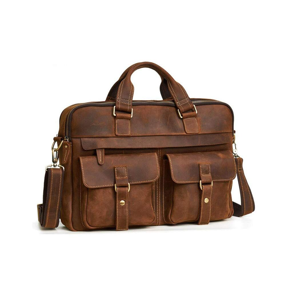 ad5b02843369 Amazon.com: New Men's Business Bag Briefcase Crazy Horse Leather 15 ...