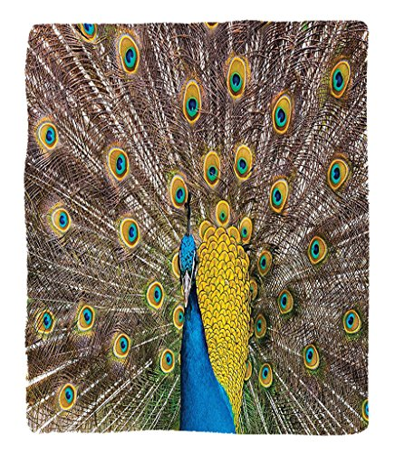 Chaoran 1 Fleece Blanket on Amazon Super Silky Soft All Season Super Plush Peacock Decor Collection Peacock Displaying Feathers Golden Vibrant Colors Eyehaped Picture Print Fabric et Mustard Turquoise by chaoran