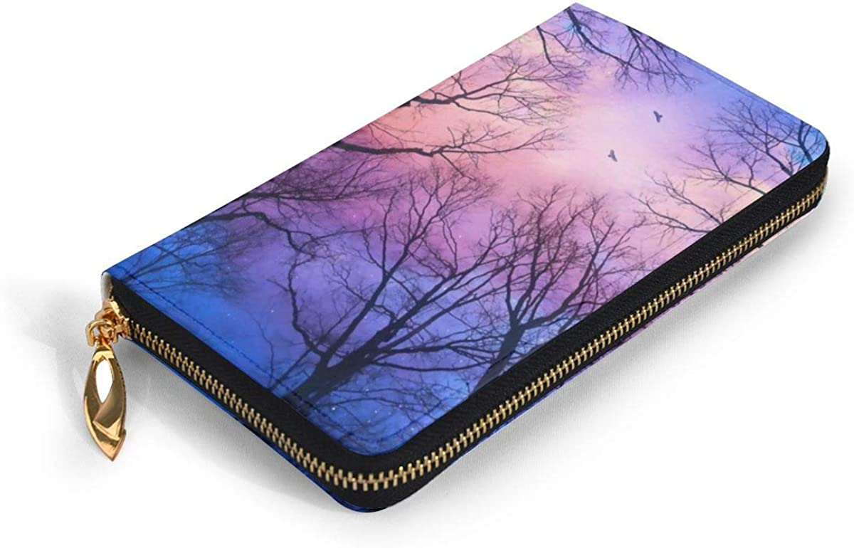 Mens Walllet Zipper forest Star Sky PU Leather Long Wallet for Banknote Credit Card