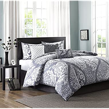Madison Park Vienna 6 Piece Printed Duvet Set, Full/Queen, Slate