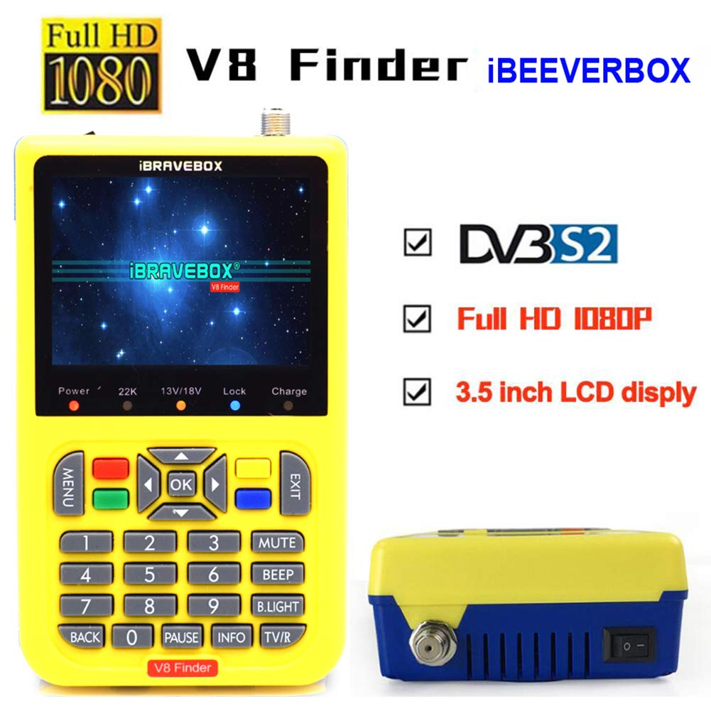 Ocamo iBRAVEBOX V8 Finer HD DVB-S2 Satellite Finder MPEG-2 MPEG-4 Better Finder Meter Yellow by Ocamo