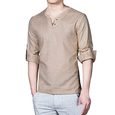 a1416d2a6 Viahwyt Mens V Neck Cotton Linen Plain Shirts Long Sleeve Casual Loose  Tops  Amazon.co.uk  Clothing