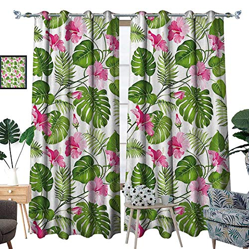 Astoria Crystal Clear (homehot Leaf Thermal Insulating Blackout Curtain Hawaiian Hibiscus Crystal Pink Flower with Palm Tree Leaves Art Print Patterned Drape for Glass Door Light Pink and Dark Green)