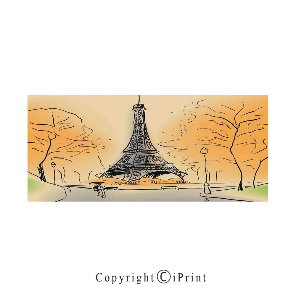 Paris city decor large premium quick dry cotton microfiber bath towelparis eiffel tower with autumn leaves in artistic sketching effect holiday landmark