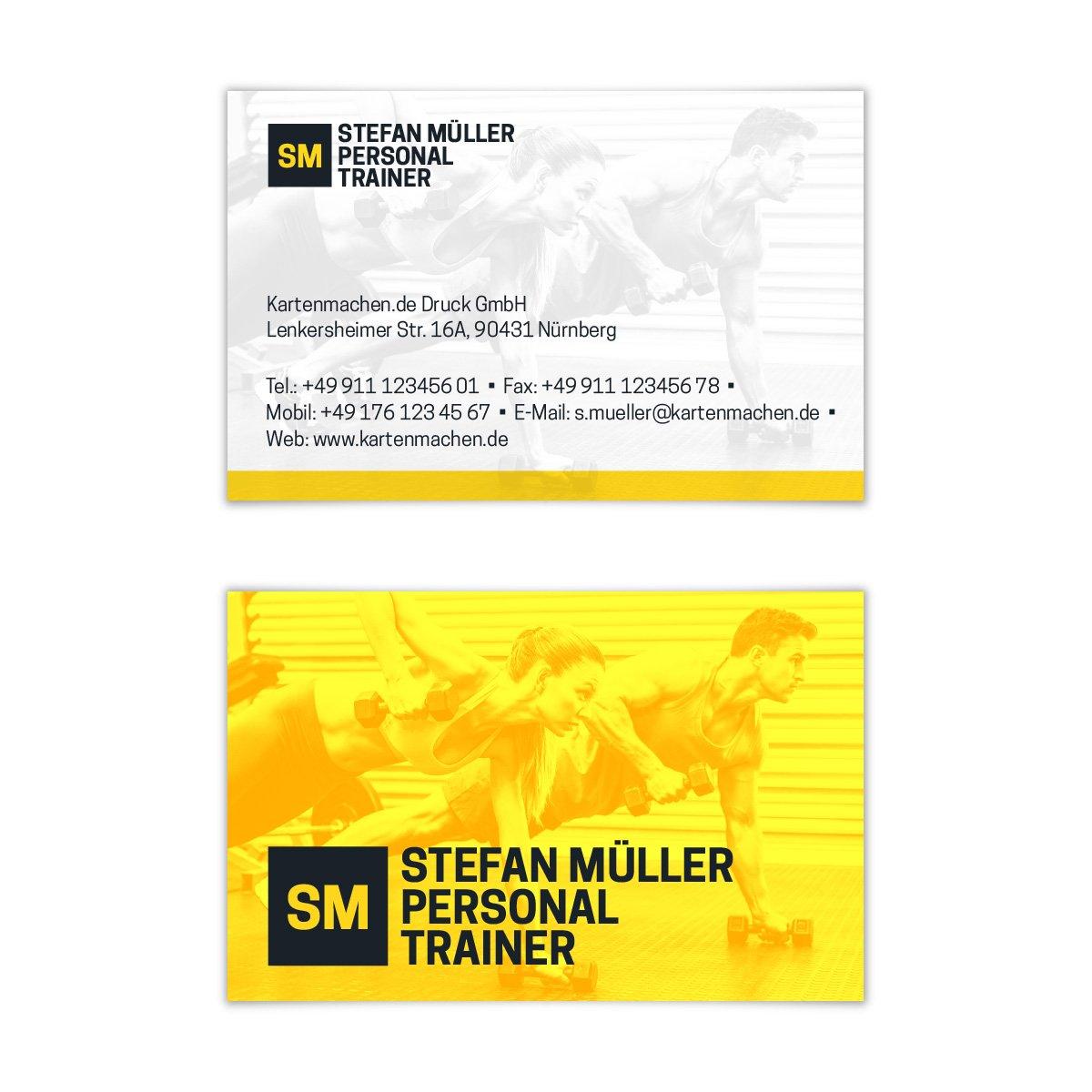 500 x Visitenkarten individuell Business Karten 300g qm 85 x 55 mm - Personal Trainer B07F7BWPW4   Genial Und Praktisch     Neuer Markt    Online