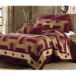 3pc Full/Queen Size Homestead Red Primitive Country Star Patchwork Printed Quilt Set