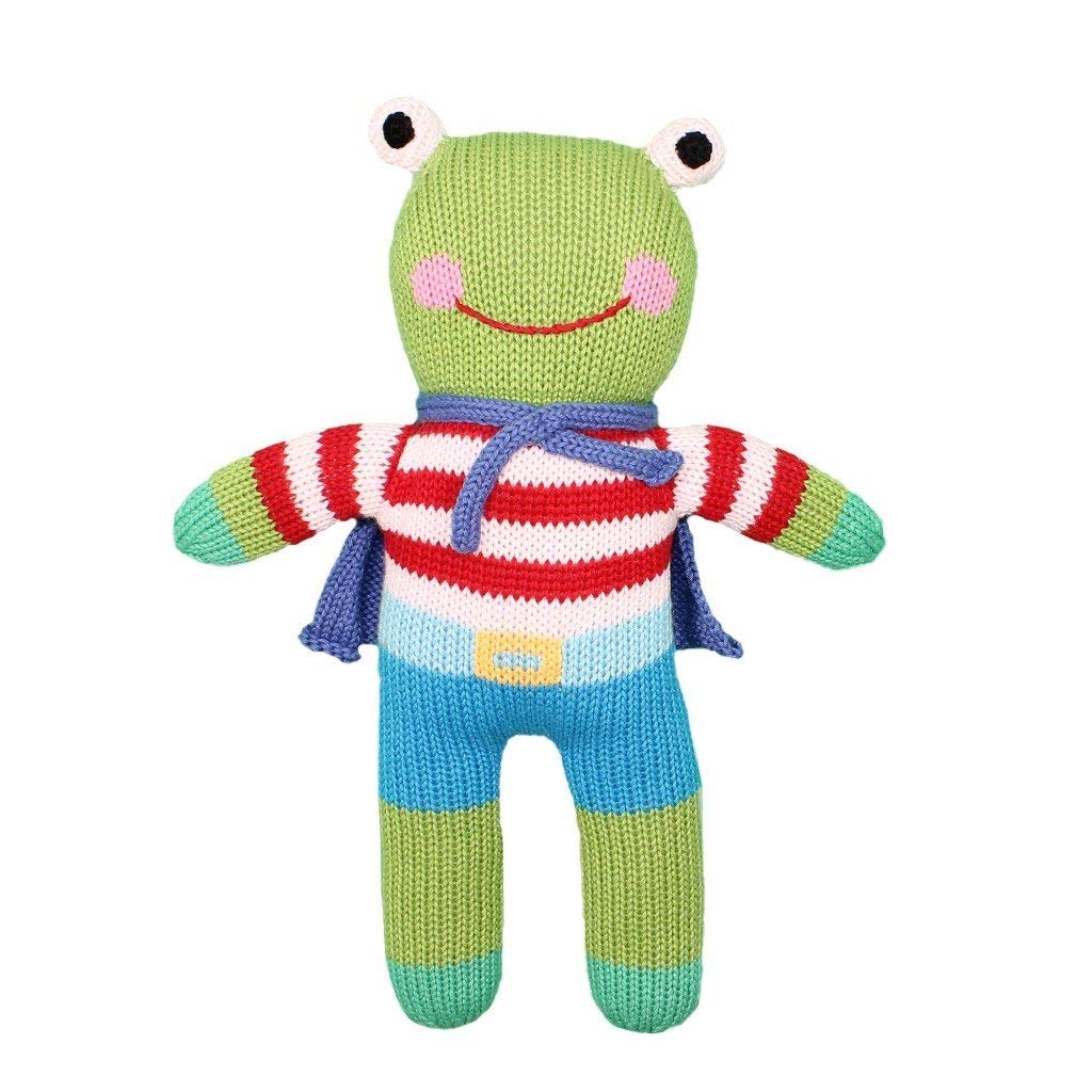 Eco-Friendly All-Natural Fibers Zubels 100/% Hand-Knit Freddy the Frog Rattle Toy 7-Inch