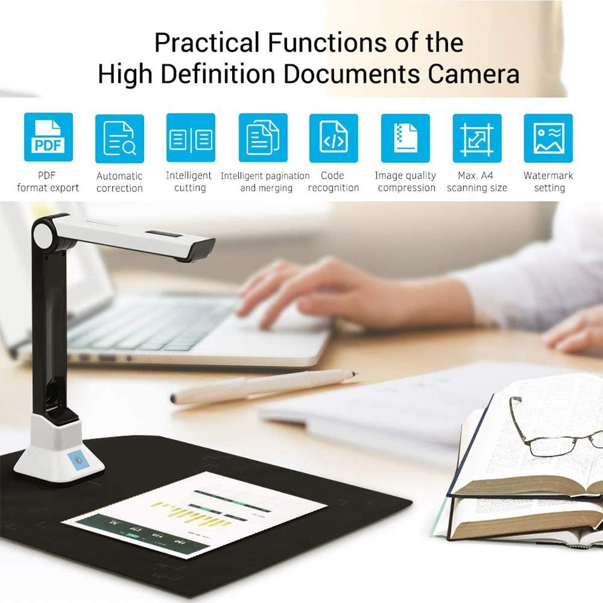 Ultra High Definition USB Portable A4 Scanner Office Classrooms with Real-time Projection Video Recording Versatility A4 Format OCR Multi-Language Recognition,etc Document Camera