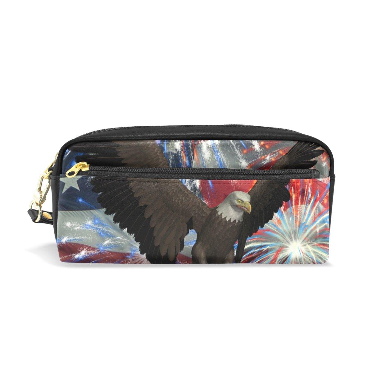 【気質アップ】 鉛筆ケースポーチストレージBald Eagle Eagle American American B07DLSN1GJ Flag花火ひな形CosmeticメイクアップWristletsバッグジッパー B07DLSN1GJ, デコレ:812f229c --- svecha37.ru