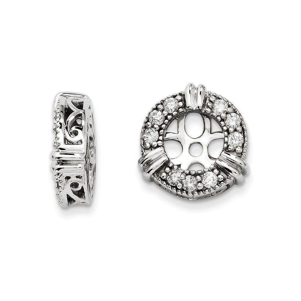 14K White Gold Diamond Earring Jackets by PriceRock
