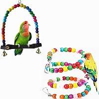 Yocome Set di 2 giocattoli colorati uccellini girevoli di legno e giocattoli di masticazione swing giocattoli gabbia con campana per pappagallo piccolo o medio-grande