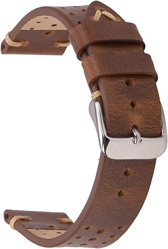 EACHE - Correa de reloj de piel auténtica con barra de resorte de liberación rápida: Amazon.es: Relojes