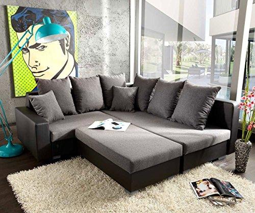 Couch Lavello mit Hocker Ecksofa L-Sofa (Eckcouch Rechts mit Hocker, Grau/Schwarz)