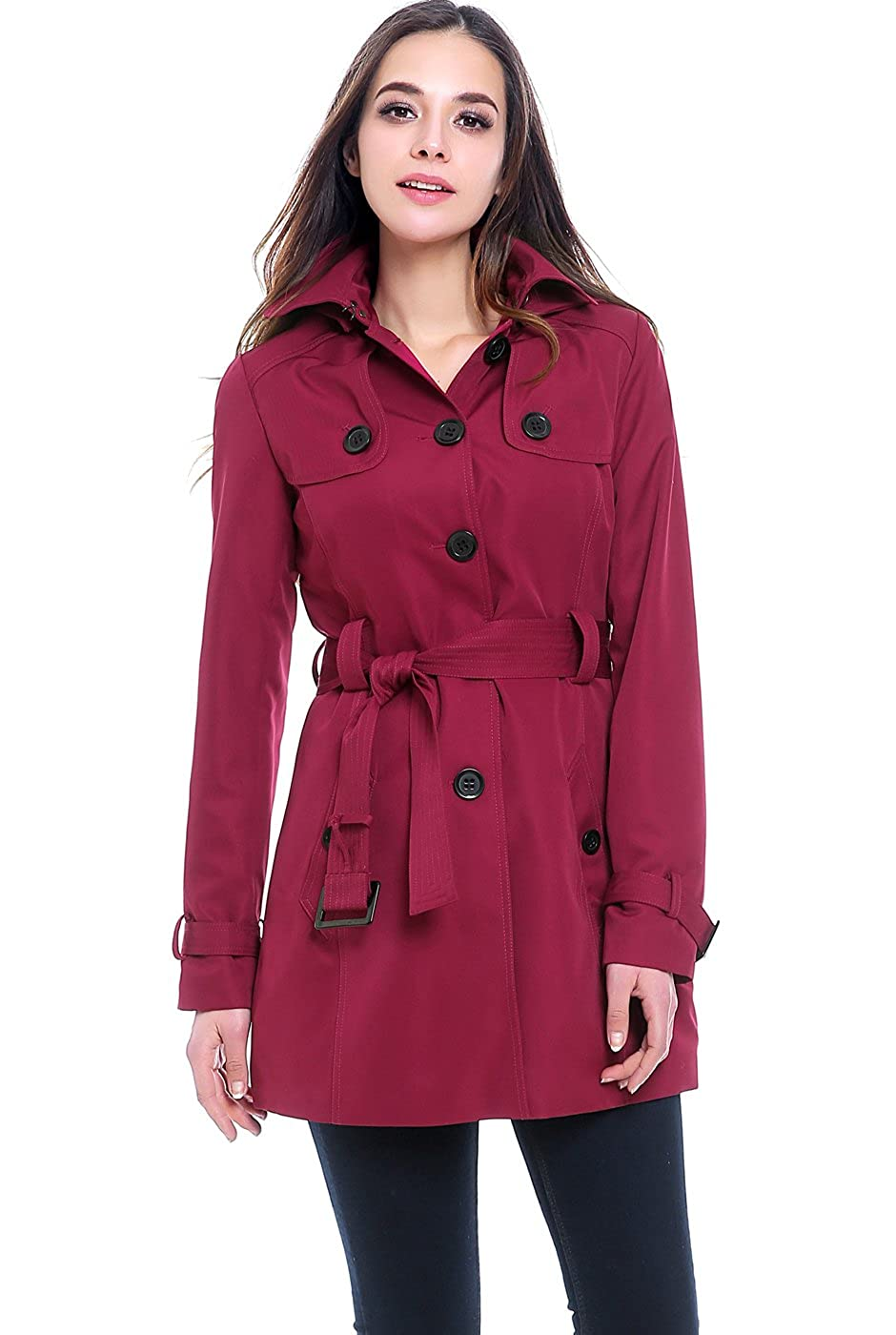 BGSD Women's Celia Hooded Mid Length Trench Coat (XS & S)