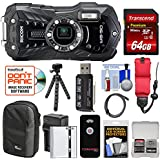 Ricoh WG-50 Waterproof/Shockproof Digital Camera (Carbon Grey) 64GB Card + Battery & Charger + Case + Tripod + Floating Strap + Kit