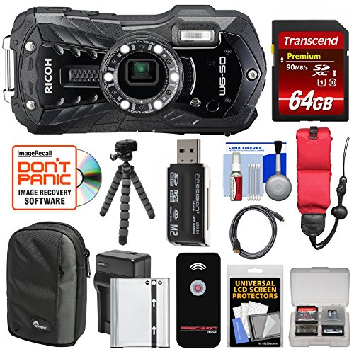 Ricoh WG-50 Waterproof/Shockproof Digital Camera (Carbon Grey) with 64GB Card + Battery & Charger + Case + Tripod + Floating Strap + Kit ()