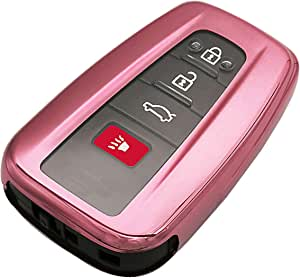 Pink TPU 3/4 Buttons Key Fob Cover Case Remote Holder Skin Protector Jacket for 2018 2019 2020 Toyota Camry RAV4 Avalon C-HR Corolla 2017 Prius