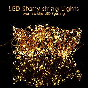 ILLUNITE 33 Feet 100 LED String Lights, Waterproof Decorative Bendable Copper Wire Lights for Bedroom, Patio, Garden, Gate, Yard, Parties, Wedding, Seasonal Holiday( Warm White )