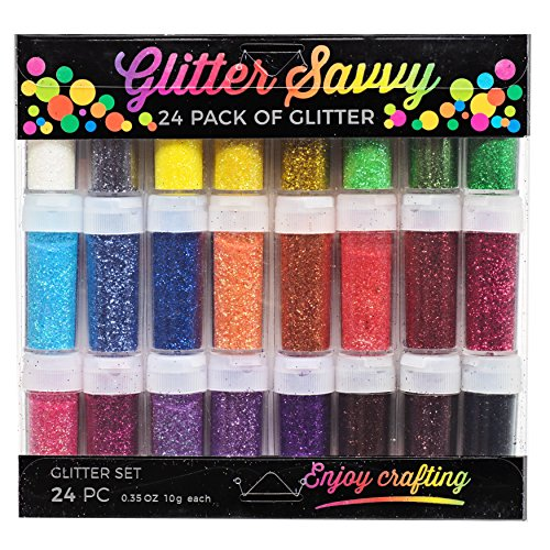 Set of 24 Glitter Shaker Jars, Extra Fine, Best Colors on Amazon for Children & Adult Art Projects School or Home, Scrapbooking, Nail, Art, Holiday Craft, Non-Toxic