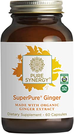 Pure Synergy SuperPure Ginger Extract | 60 Capsules | Made with Organic Ingredients | Non-GMO | Vegan | with 425 mg of Ginger Extract