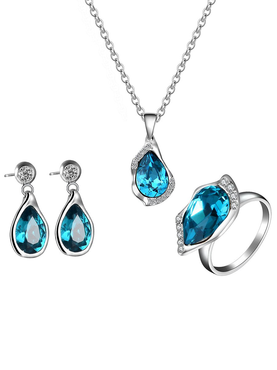 FANCYGIRL jewelry Sets Crystal Pendant Necklace Earrings Ring Gifts for Womens