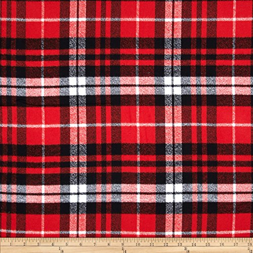 Robert Kaufman Kaufman Mammoth Flannel Plaid Scarlet Fabric By The Yard (Plaid Flannel Fabric Red)