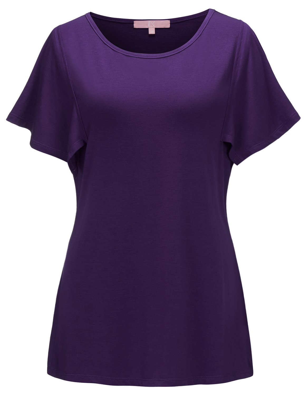 Regna X Women's Short Sleeve Scoop Neck Comfy Maternity Tunic Top Purple XL