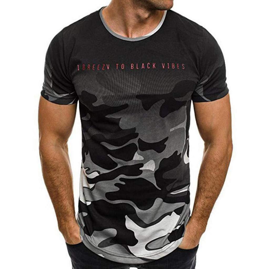 Camisetas Hombre, SHOBDW Personalidad De La Moda Camuflaje Delgado ...