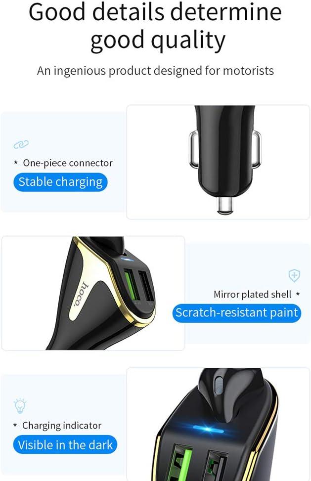 Bluetooth Car Charger, Caricabatteria da Auto, Adattatore Fast Car di Carico del Caricatore USB Doppio con Bluetooth Adatto per Android E Dispositivi iOS (Nero/Bianco) White