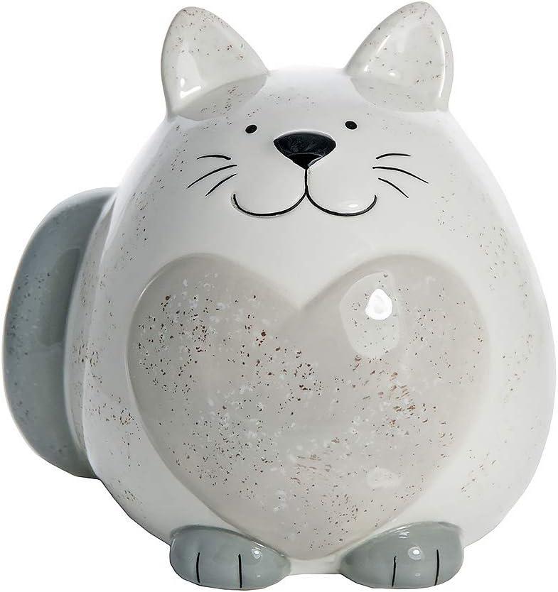 SPOTTED DOG GIFT COMPANY Hucha Gato Gordo, huchas Originales de cerámica Blanca con corazón Gris para niños o Adultos, Regalo con Gatos niña y niño: Amazon.es: Hogar