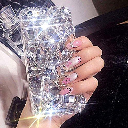 Case for LG Stylo 4,Luxury 3D Handmade Sparkle Stunning Stones Crystal Rhinestone Bling Full Diamond Gemstone Glitter Case for LG Stylo 4 Plus/LG Stylus 4/LG Q Stylus(A Full White)