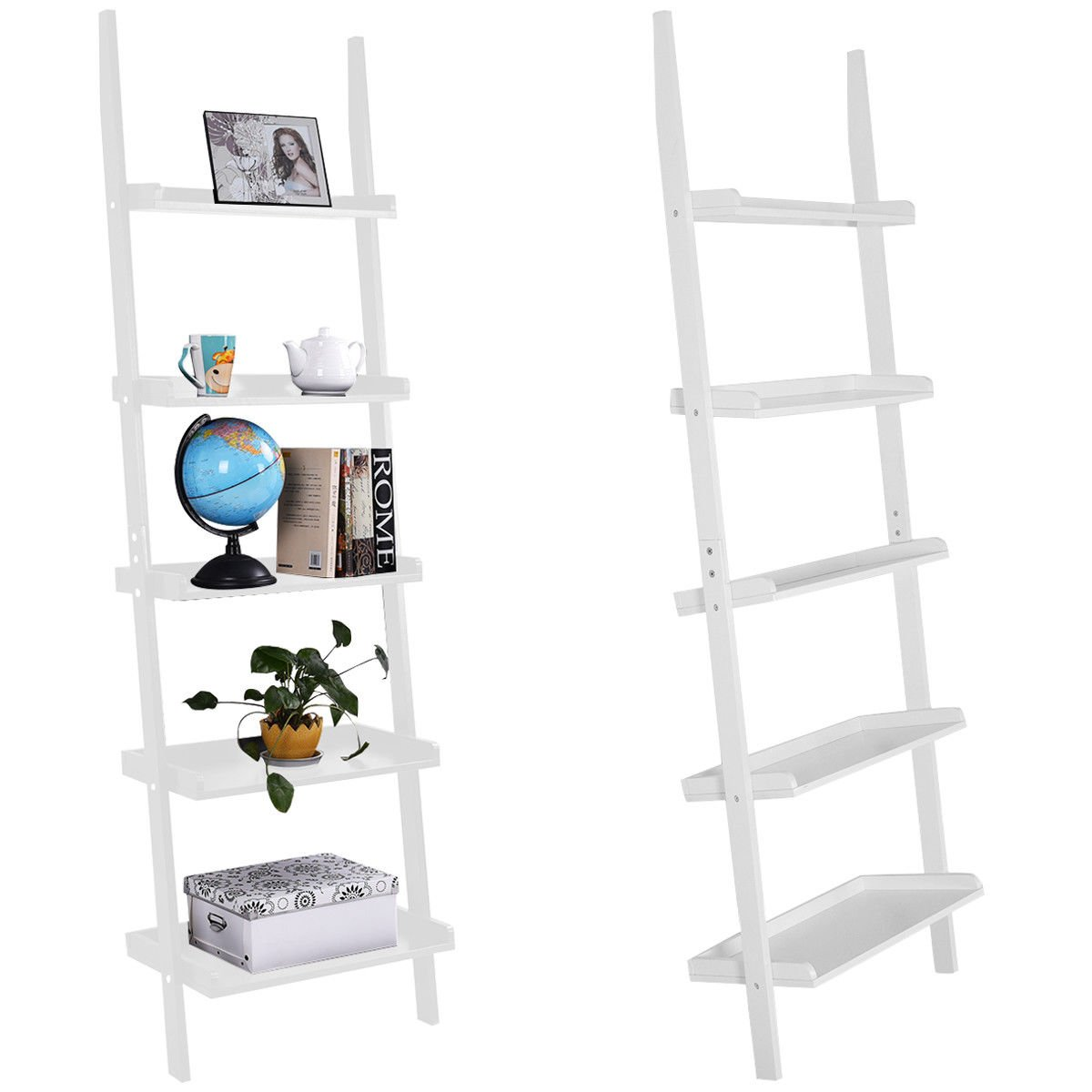TANGKULA Ladder Bookcase 5-Tire Wood Leaning Shelf for Home Office Modern Flower Book Display Shelf Storage Rack Stable A-Frame Wooden Ladder Shelf