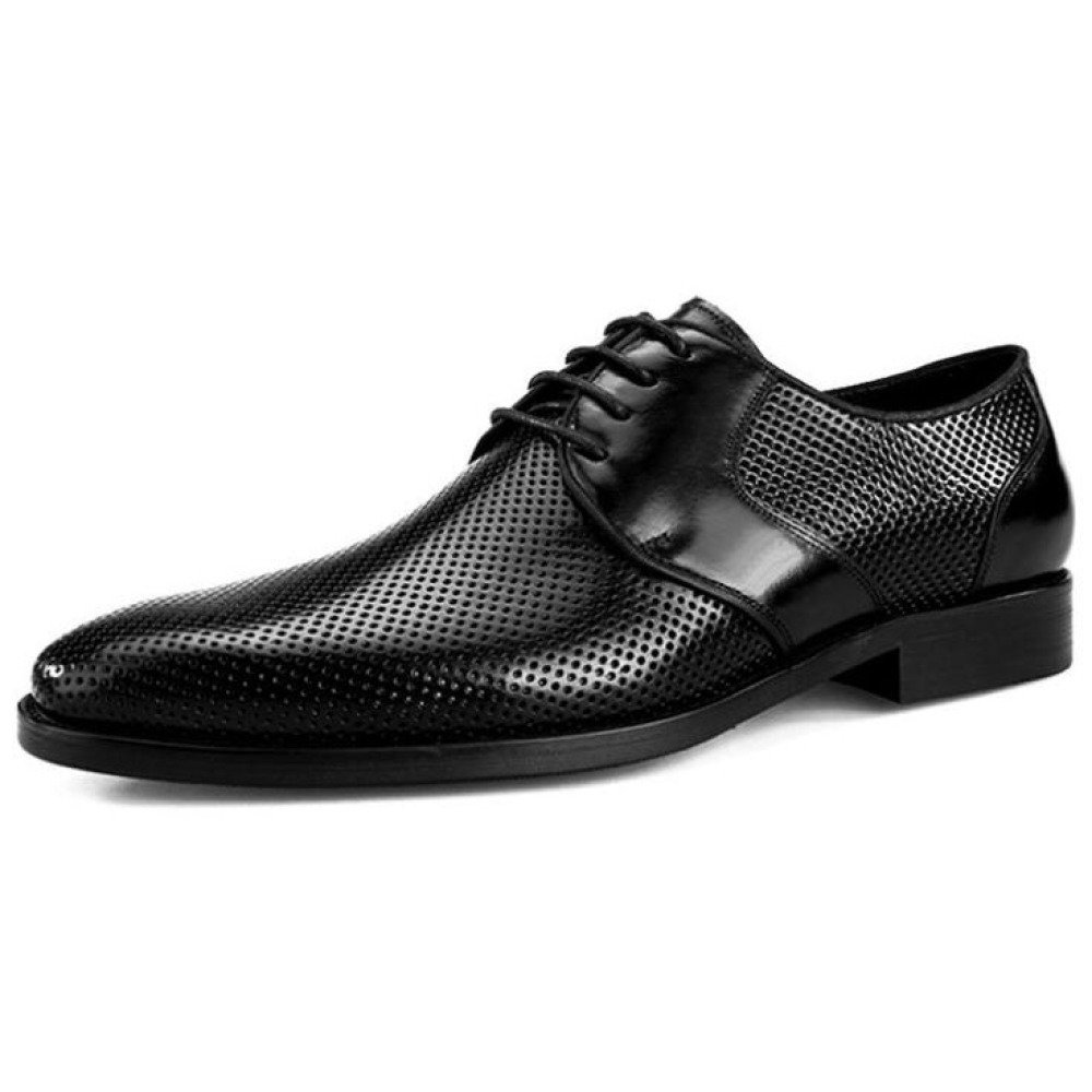 QSCG Herren Derbys Cutout Lederschuhe Business Schnür-Kleid Schuhe Casual Hochzeit Derbys Herren Smart Schuhe schwarz 32f129